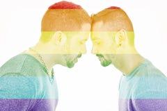 Een homoseksueel paar over een witte achtergrond royalty-vrije stock afbeeldingen