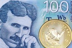 Een honderd Servisch dinarbankbiljet met gouden krugerrand munt stock foto's