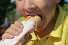 Een hongerige jongen die een hotdog in park eten, sluit omhoog mening stock afbeelding