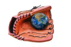 Een honkbal gloves en de bal, aardeteken, met inbegrip van elementen levert Stock Fotografie