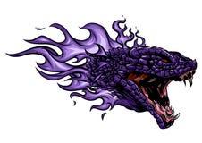 Een hoofd van de Draak in brand met vlammen stock illustratie