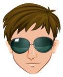 Een hoofd van een mens met glazen stock illustratie