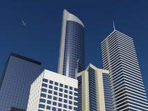 Een hoog stijgingsuitzicht van een moderne stad Stock Afbeeldingen