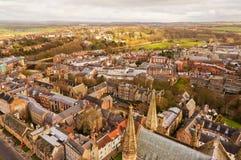 Een hoogste mening van de stad van Durham Dit beeld werd genomen op de toren van Durham die een deel van de Kathedraal van Durham Stock Foto