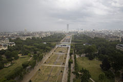 Een hoogste mening van het park en de rivierzegen en Parijs Stock Afbeelding