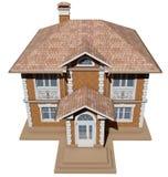 Een hoogste mening van een symmetrisch baksteenplattelandshuisje het 3d teruggeven Royalty-vrije Stock Afbeelding
