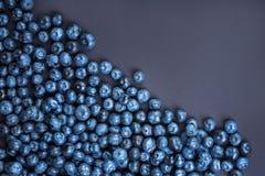 Een hoogste mening van zoete bosbessen Bosbessen op een donkerblauwe achtergrond Gezonde en smakelijke bessen De zomervruchten Royalty-vrije Stock Fotografie