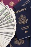 Contant geld & Paspoorten Royalty-vrije Stock Fotografie