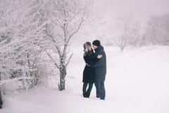 Een houdend van paar op een de wintergang Het verhaal van de sneeuwliefde, magische de winter Man en vrouw op de ijzige straat De stock afbeelding