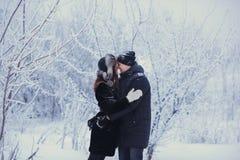 Een houdend van paar op een de wintergang Het verhaal van de sneeuwliefde, magische de winter Man en vrouw op de ijzige straat De royalty-vrije stock afbeeldingen