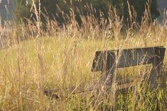 Een houten bank in het platteland Stock Afbeeldingen