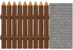 Een houten die omheining naast een lichtgrijze harde bakstenen muur wordt geïnstalleerd royalty-vrije illustratie