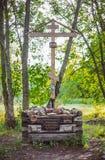 Een houten kruis van het geheugen van Grigory Rasputin in Alexander Park van Pushkin, St. Petersburg, Rusland Stock Fotografie
