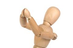 Een houten ledenpop gesticuleert Royalty-vrije Stock Foto's