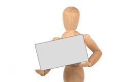 Een houten ledenpop met adreskaartje Royalty-vrije Stock Foto