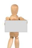 Een houten ledenpop met adreskaartje Stock Foto