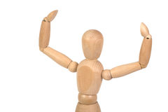 Een houten ledenpop werkt uit Royalty-vrije Stock Afbeelding