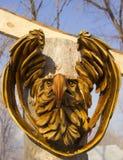 Een houten masker van een adelaar stock foto