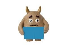 Een houten monster die een boek, 3D illustratie lezen Royalty-vrije Stock Foto