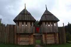 een houten vesting, Tustan Stock Afbeeldingen