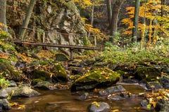 Een houten voetgangersbrug over een rotsachtige kreek Stock Foto
