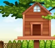 Een houten vogelhuis stock illustratie