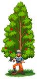 Een houthakker onder de lange boom stock illustratie