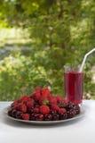 Een huis belemmert van kersen, aardbeien en frambozen in een glas Plaat met vers fruit De zomer verfrissende drank op groene bede stock foto