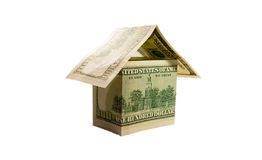 Een huis dat van dollarrekeningen wordt gemaakt Stock Fotografie