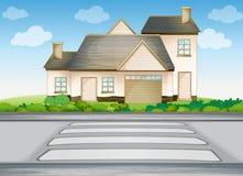 Een huis en een gestreepte kruising stock illustratie