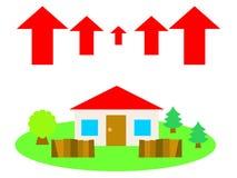 Een huis in het platteland en omhoog de pijlen stock illustratie