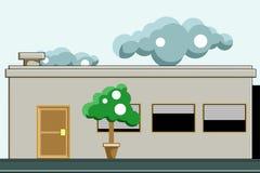 Een huis met bomen op de voorzijde en wolken in de hemel Vectorfl Stock Foto