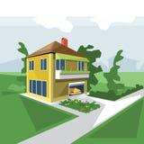 Een huis in 2 vloeren, mening vanuit perspectief stock illustratie
