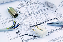 Een huisplan elektro Stock Fotografie