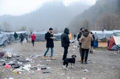 Een humanitaire catastrofe in Vluchteling en Migrantenkamp in Bosnië-Herzegovina De Europese migrerende crisis Balkan route tent stock afbeelding