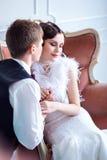 Een huwelijk in retro stijl Stock Afbeelding