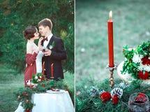 Een huwelijk in retro stijl Stock Foto's