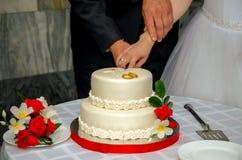 Een huwelijkscake Stock Afbeeldingen