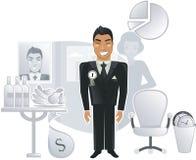 Een ideaal bureau met een gelukkige arbeider in vector Stock Foto
