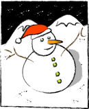 Een ijzige sneeuwman Royalty-vrije Stock Foto