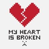 Een illustratie in de vorm van a pixelated gebroken hart Royalty-vrije Stock Fotografie