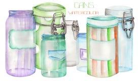 Een illustratie met de blikken en de glaskruiken Geschilderde hand-drawn in een waterverf vector illustratie