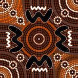 Een illustratie op inheemse stijl van punt het schilderen depicti wordt gebaseerd die Royalty-vrije Stock Afbeeldingen