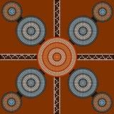 Een illustratie op inheemse stijl van punt het schilderen depicti wordt gebaseerd die Stock Afbeelding