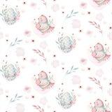 Een illustratie van de waterverflente van de leuke Pasen-babyvogel en de eieren Dierlijk naadloos roze de stoffenpatroon van het  royalty-vrije illustratie