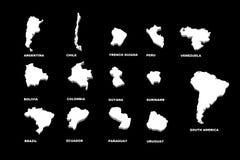 Een illustratie van de Zuid-Amerika kaarten Stock Fotografie