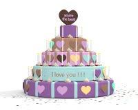 Een illustratie van een cake voor de dag van de vader of de dag van de moeder Stock Foto