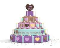 Een illustratie van een cake voor de dag van de vader, de dag van de moeder of valentijnskaartendag Stock Afbeeldingen