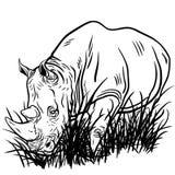 Een illustratie van een het lopen rinoceros Royalty-vrije Stock Afbeeldingen