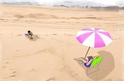 Een illustratie van een vrouw en haar kind op een strand Stock Afbeeldingen